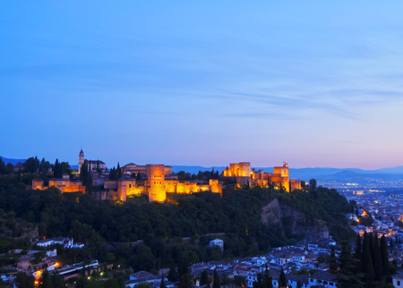 Night view of Alhambra in Granada - beautiful city in Andalusia, Spain