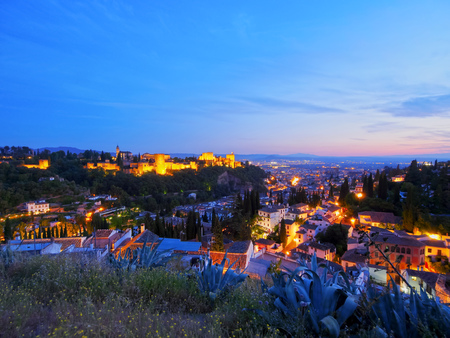 Night view of Granada - beautiful city in Andalusia, Spain