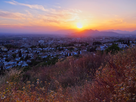 Sunset in Granada- city in Andalusia, Spain photo