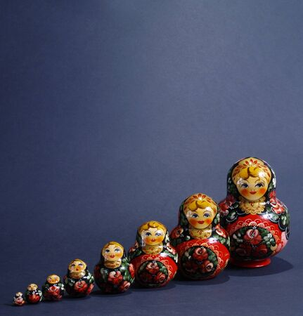 Matryoshka -Traditional Russian Toy on dark background photo