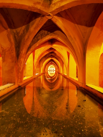 padilla: Banos de Dona Maria de Padilla - Baths of Lady Maria de Padilla in Reales Alcazares in Seville - residence developed from a former Moorish Palace in Andalusia, Spain