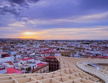 Seville Cityscape - view from Metropol Parasol on Plaza de la Encarnacion, Andalusia, Spain photo