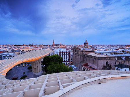 Seville Cityscape - view from Metropol Parasol on Plaza de la Encarnacion, Andalusia, Spain