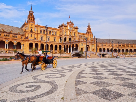 Carriage on Plaza de Espana - Spanish Square in Seville, Andalusia, Spain