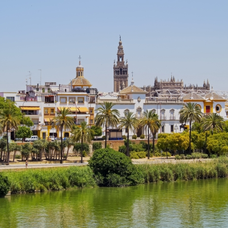 View of Seville and Guadalquivir River, Andalusia, Spain 写真素材