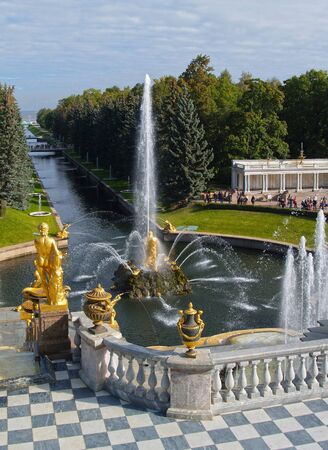 Grand Peterhof Palace and the Grand Cascade in Peterhof, Russia
