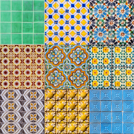 Set of Portuguese Ceramic Tiles - Houses built in a traditional style are covered with such decoration. photo