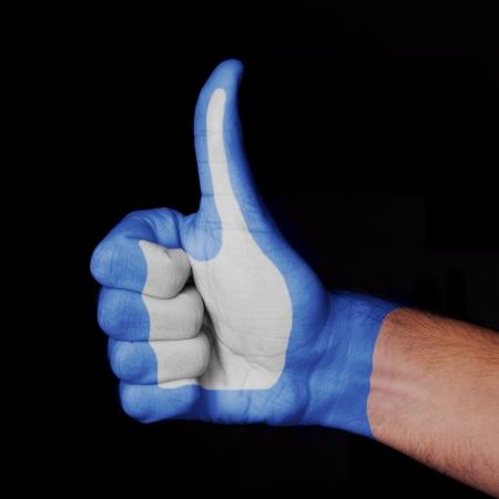 Menschliche Hand, die in den Farben des beliebten Wie Sign gemalt. Standard-Bild - 24927237