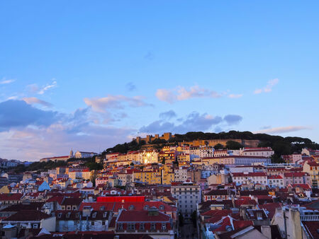 justa: Cityscape of Lisbon - view from the top of Santa Justa Elevator.