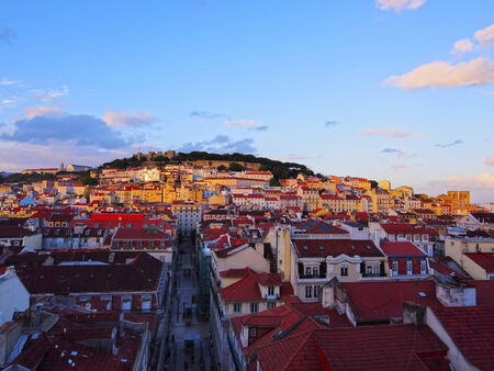 Cityscape of Lisbon - view from the top of Santa Justa Elevator. photo