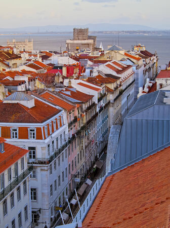 Cityscape of Lisbon - view from the top of Santa Justa Elevator.