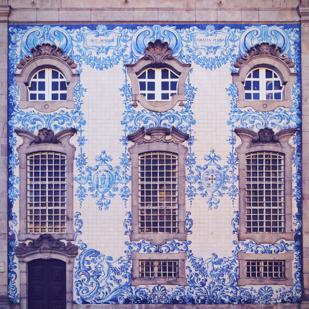 carmo: Tiled Wall of Carmo Church in Porto, Portugal Stock Photo