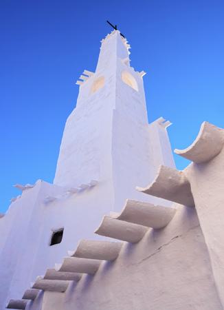 whitewashed: Whitewashed Church in Binibeca Vell on Menorca, Balearic Islands, Spain Stock Photo