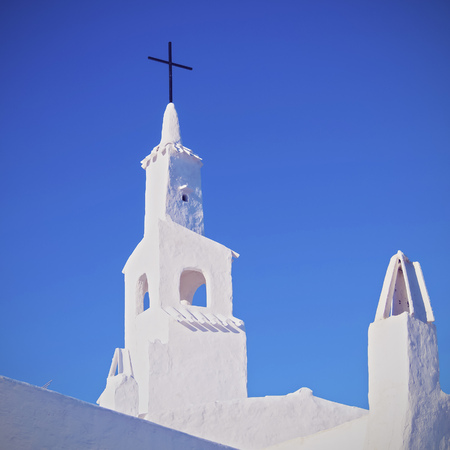 whitewashed: Whitewashed Church in Binibeca Vell on Menorca, Balearic Islands, Spain Stock Photo