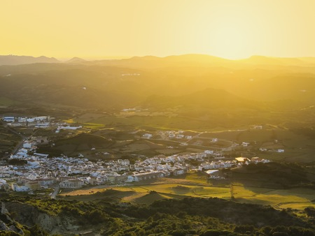 Sunset over Es Mercadal on Menorca - view from the top of El Toro Mountain, Balearic Islands, Spain photo