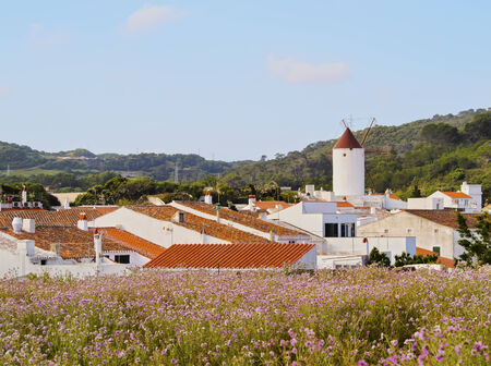 View of Es Mercadal - small town on Menorca, Balearic Islands, Spain photo
