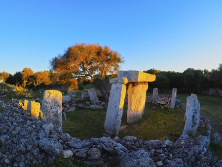 Talati de Dalt - T-shaped stone monument on Menorca, Balearic Islands, Spain photo