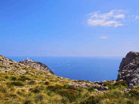 Lighthouse on Cap de Formentor on Mallorca, Balearic Islands, Spain photo