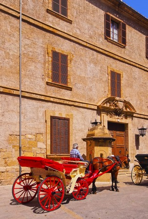 Carriages on Carrer del Palau Reial in Palma de Mallorca, Balearic Islands, Spain