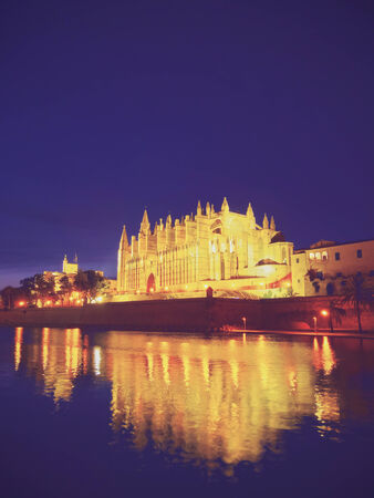 Night view of Cathedral in Palma de Mallorca, Balearic Islands, Spain photo