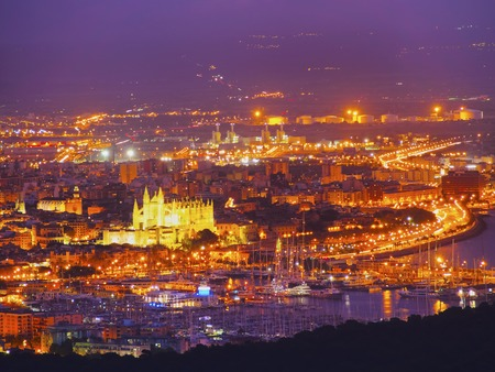 Night aerial view of Palma de Mallorca, Balearic Islands, Spain