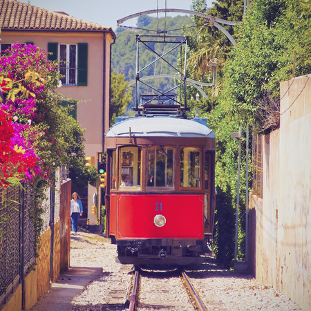 Old Tram in Soller on Mallorca, Balearic Islands, Spain 스톡 콘텐츠