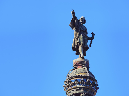Monument of Christopher Columbus in the harbour of Barcelona, Catalonia, Spain