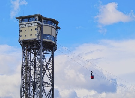 Torre de Sant Sebastia of Aeri del Port - Port Vell Aerial Tramway in Barcelona, Catalonia, Spain photo