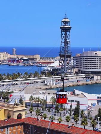 Aeri del Port - Port Vell Aerial Tramway in Barcelona, Catalonia, Spain