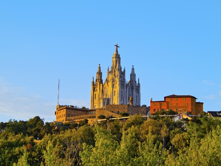 Temple of the Sacred Heart of Jesus on Tibidabo Mountain in Barcelona, Catalonia, Spain