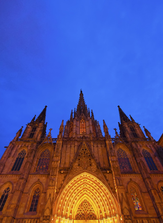 Night view of The Cathedral of the Holy Cross and Saint Eulalia in Barcelona, Catalonia, Spain photo
