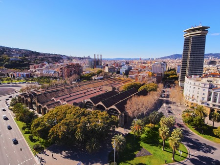 View from Mirador de Colon - Christopher Columbus Column in Barcelona, Catalonia, Spain