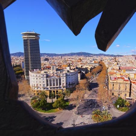Aerial view of La Rambla in Barcelona, Catalonia, Spain