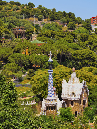 Parc Guell - famous park designed by Antoni Gaudi in Barcelona, Catalonia, Spain