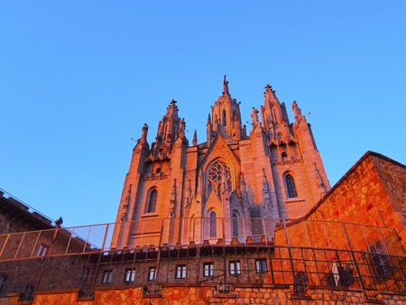 sagrat cor: Temple of the Sacred Heart of Jesus on Tibidabo Mountain in Barcelona, Catalonia, Spain