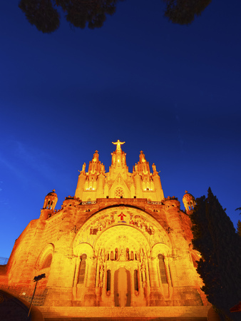 Temple of the Sacred Heart of Jesus on Tibidabo Mountain in Barcelona, Catalonia, Spain photo