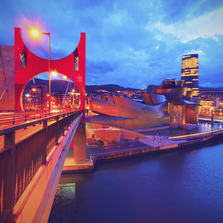 basque country: Night view of La Salve Bridge and The Guggenheim Museum in Bilbao, Biscay, Basque Country, Spain