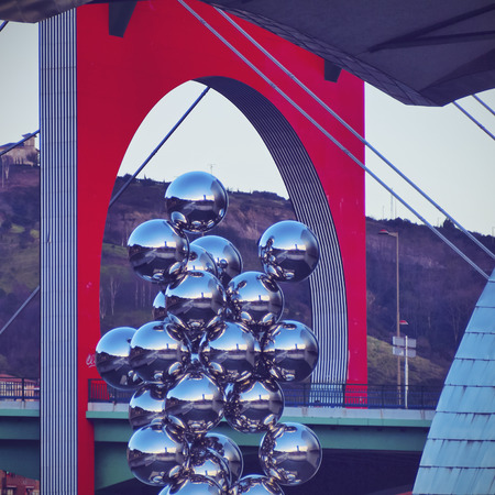 steel balls: Sculpture The Big Tree consisting of 80 stainless steel balls with reflections by Anish Kapoor in front of The Guggenheim Museum in Bilbao, Biscay, Basque Country, Spain