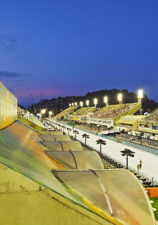 Brazil, State of Rio de Janeiro, City of Rio de Janeiro, Twilight view of The Sambadrome Marques de Sapucai. Editorial