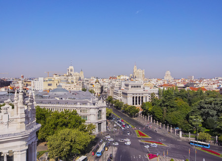 palacio de comunicaciones: Spain, Madrid, Cityscape viewed from the Cybele Palace. Editorial