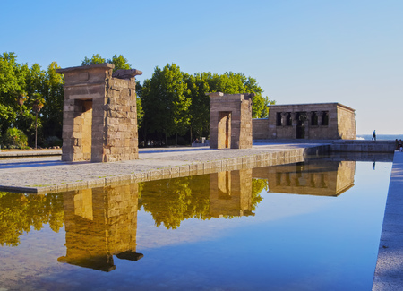 Spain, Madrid, Parque del Oeste, View of the Temple of Debod.