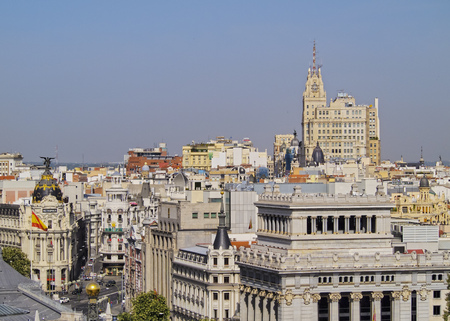 palacio de comunicaciones: Spain, Madrid, View from the Cybele Palace towards the Alcala Street and the Metropolis Building.