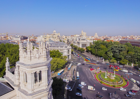 cibeles: Spain, Madrid, Elevated view of the Plaza de Cibeles seen from the Cybele Palace.