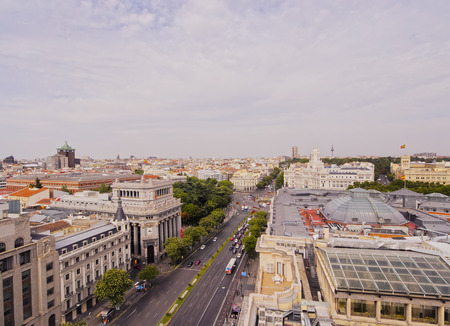 palacio de comunicaciones: Spain, Madrid, Elevated view of the Alcala Street and the Cybele Palace.
