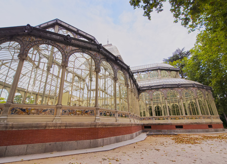 Spain, Madrid, View of the Crystal Palace in the Retiro Park.