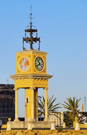 Spain, Catalonia, Tarragona, View of the Port Clock. Stock Photo