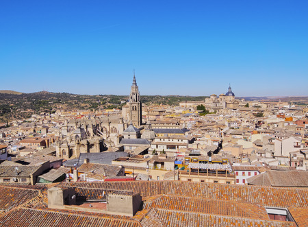 Spain, Castile La Mancha, Toledo, Old Town viewed from the Alcazar de Toledo.  Stock Photo