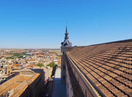Spain, Castile La Mancha, Toledo, View of the Alcazar de Toledo.