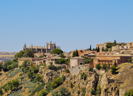 mancha: Spain, Castile La Mancha, Toledo, Elevated view of the Old Town.  Stock Photo