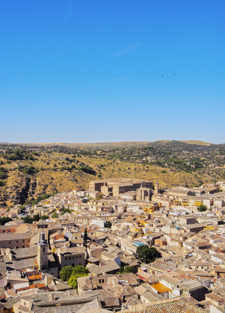 Spain, Castile La Mancha, Toledo, Elevated view of the Old Town.  Stock Photo